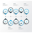 device icons colored set with laptop router vector image