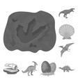 different dinosaurs monochrome icons in set vector image