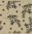 elegant hand drawn christmas seamless pattern with vector image vector image