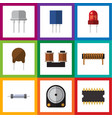 flat icon electronics set of hdd triode bobbin vector image vector image