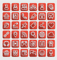 Flat Icons Social Media Red Set vector image vector image