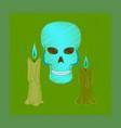 flat shading style icon candle skull vector image
