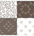 four seamless pattern background with hearts vector image