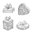 gift boxes black and white collection for festive vector image