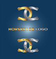 gold and silver horseshoe logo vector image vector image