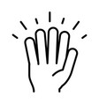 hand showing five fingers line icon design vector image
