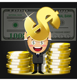 happy man carrying stack of big golden coins vector image