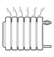 heating battery icon outline style vector image vector image