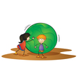 kids and ball vector image vector image