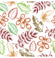 leaves seamless pattern hand drawn sketch vector image vector image
