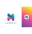 m logo letter with rainbow vibrant beautiful vector image vector image