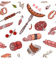meat food seamless pattern sausage and steak vector image vector image