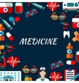 Medicine poster with flat icons vector image vector image