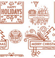 merry christmas winter holiday monochrome logo vector image vector image