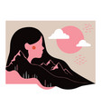 modern abstract with long hair woman minimalistic vector image vector image