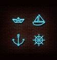 neon sea transport signs isolated on brick vector image vector image