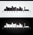 niagara falls skyline and landmarks silhouette vector image vector image