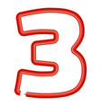 number three plastic tube icon cartoon style vector image