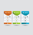 price list widget with 2 payment plans for online vector image vector image