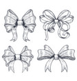 ribbon bows set of black hand drawn sketch vector image