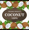 ripe coconuts and palm leaves around circle badge vector image vector image