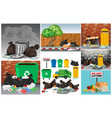 road scenes with trash and trashcans vector image vector image