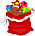 Santa gift bag full of toys and gifts over white vector image