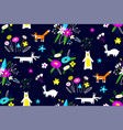 seamless pattern with animals flowers vector image