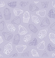 seamless purple pattern of cacti and cups vector image vector image