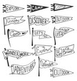 set of adventure outdoors camping pennants vector image vector image