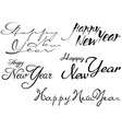 set of happy new year inscription vector image vector image