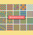 set of twenty pastel color geometric patterns vector image