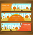 Set of web banners with autumn landscape vector image vector image