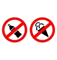 Signs prohibiting ice and water vector image