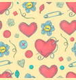stitched needle bed in the shape of a heart and vector image vector image