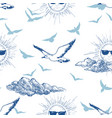 summer sky seamless pattern sun wearing vector image vector image
