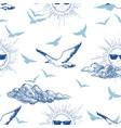 summer sky seamless pattern sun wearing vector image vector image