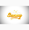 sunny golden yellow word text with handwritten vector image vector image