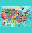 usa map in cartoon style vector image