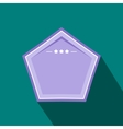Violet badge with three stars icon flat style vector image