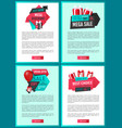 web pages with gift boxes and shopping sale labels vector image vector image