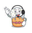 with headphone easter cake mascot cartoon vector image