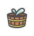 wooden water tub icon cartoon vector image vector image