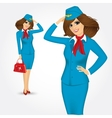 young stewardess saluting greetings vector image vector image