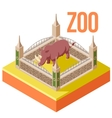 Zoo Rhinoceros isometric icon vector image vector image