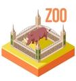 Zoo Rhinoceros isometric icon vector image vector image