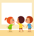 children looking at board vector image