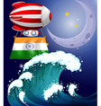 A balloon with the flag of India above the giant vector image vector image