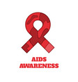 aids awareness papercut ribbon vector image vector image