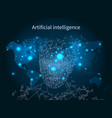 artificial intelligence map network poster vector image vector image